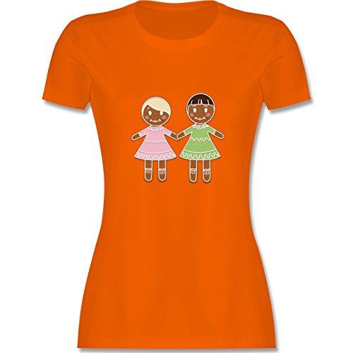 Weihnachten & Silvester - Lebkuchenfrau und -frau - tailliertes Premium T-Shirt mit Rundhalsausschnitt für Damen Orange