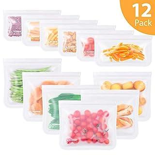 Reusable Sandwich Bags, Kollea 12 Pack Ziplock Bags (6 Sandwich Bags & 6 Snack Bags) Extra Thick FDA Grade Freezer Bags, Leakproof Storage Bag for Food, Travel, Home Organization