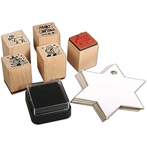 RAYHER HOBBY 58716000, Mini juego de sellos de madera Christmas, 5 pcs, 2 x 2,5 cm con accesorios DS