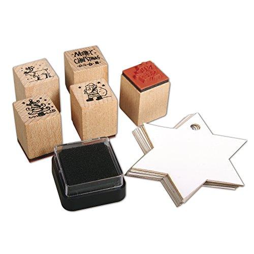 Rayher 58716000, Set di timbri Natale, in Legno, Decorazioni, Scrapbooking, 5 pz, 2 x 2 x 2,5 cm