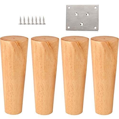Style Schrank Eiche (LXS 4er Pack, Massivholzmöbel Sofafüße, Modern Style Eiche Konisch Holz Ersatz Sofa Couch Bank Stuhl Couchtisch Schrank Beine)