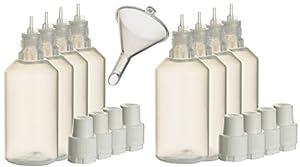 8 Stück 50ml Liquidflaschen incl. 1x Füll-Trichter - SmokerFuchs® - Leerflaschen je 50 ml zum befüllen und mischen von E-Liquid für elektrische Zigaretten