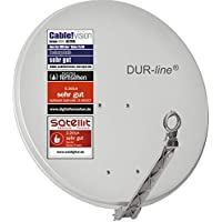 DUR-line Select 75cm/80cm Hellgrau Satelliten-Schüssel - 3 x Test + Sehr gut + Aluminium Sat-Spiegel