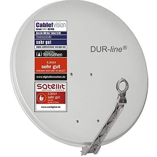 DUR-line Select 75/80cm Hellgrau Satelliten-Schüssel - 3 x Test + Sehr gut + Aluminium Sat-Spiegel
