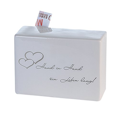 Casablanca - Spardose - Promise - Hand in Hand EIN Leben Lang - Geldgeschenk, Hochzeitsgeschenk - Höhe: 14 cm Hand, Keramik