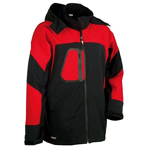 Cofra Softshell Winterjacke Sweden V101 wasser-/ windabweisende Funktionsjacke 01 schwarz/rot, Größe 60