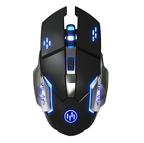 Tenmos t85 mouse gaming wireless ricaricabile, 2,4g usb led mouse senza fili ottico, sleep automatico, impugnatura ergonomica, 3 dpi regolabili, 6 pulsanti per pc/notebook (nero)