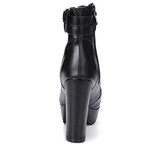 Femmes Talons Lacet Fermeture et Bottines de Plateforme à Cheville Confortables Mode avec Haute Fourrure Boucle Chaud Eclair Chaussures et Noir Bloc avec UH Rétro en dqHxnPOwXd