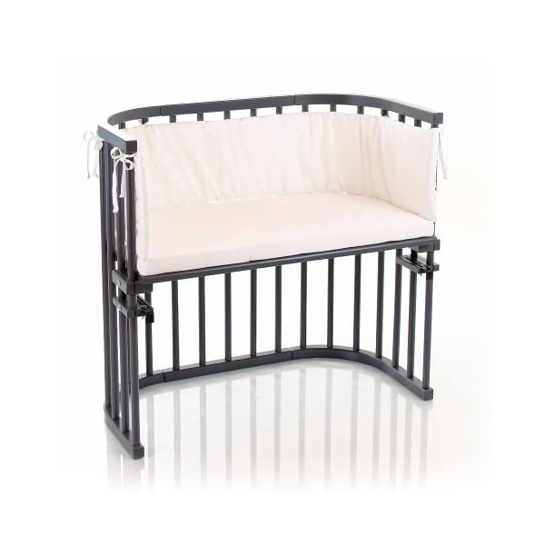 Babybay Original Varnished Cot, Grey babybay Made of solid beech wood Classic compact design with rounded corners Solid, robust and tenfold convertible 3