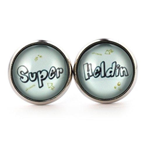 SCHMUCKZUCKER Damen Ohrstecker Spruch Super Heldin witzige Modeschmuck Ohrringe silber-farben 14mm pastellblau