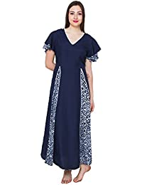 0dc28d305b Patrorna Cotton Silk Blend Women s A-Line Peplum Nighty Night Dress Gown in  Navy Print