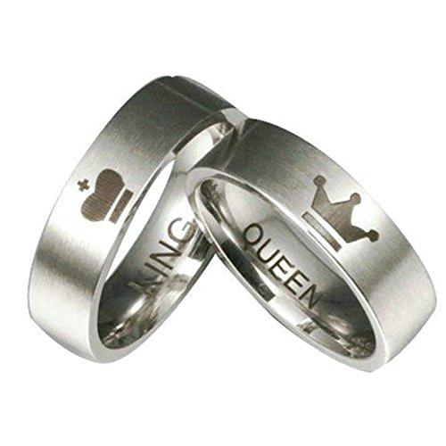 König Königin Edelstahl Band Ring Für Frauen Männer Frauen Größe 9 Männer Größe 13 (Männer Diamant-hochzeit Band-größe 13)