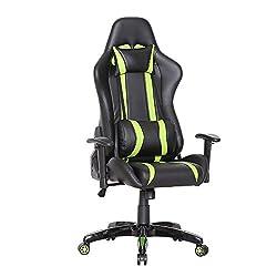 SVITA Racing Bürostuhl Chefsessel Gaming-Stuhl Schreibtischstuhl mit Armlehnen - Leder-Optik - Farbwahl (grün)
