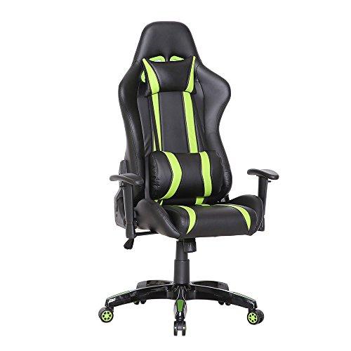 SVITA Racing Bürostuhl Chefsessel Gaming-Stuhl Schreibtischstuhl mit Armlehnen - Leder-Optik - Farbwahl (grün) -