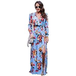 Yesmile Vestido de Mujer Vestido Largo Vestido de Estampado Vestido Elegante de Noche para Boda Vestido de la Playa de la Impresión Vestido Atractivo de la Manera de la Manga Larga (Azul, L)