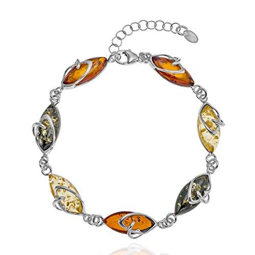 Copal Damen Bernstein Armband Echt Silber Natur Bunt Längen-verstellbar Geschenkbox Danke Geschenke für Frauen