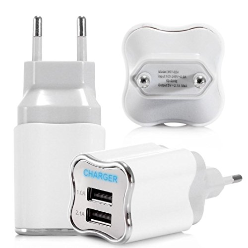 MMLC Mode 2A Dual USB Port Wand Home Reise AC Ladegerät Adapter für Samsung iPhones und Andere Smartphones EU-Stecker (Weiß) (Ac Wand Home-adapter Auto)