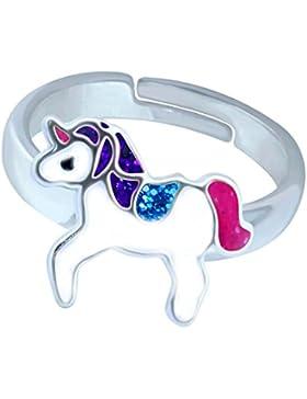 SL-Silver Mädchen Damen Ring Einhorn Glitzer Glanz Grösse einstellbar 925 Sterling Silber in Geschenkverpackung