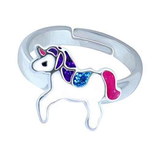 SL-Silver Mädchen Damen Ring Einhorn Glitzer Glanz Grösse einstellbar 925 Sterling Silber in Geschenkverpackung (Pink)