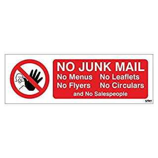 No Junk Mail Letterbox Sticker. No menus, No leaflets, No flyers, No circulars and No salespeople. 150x50mm Self Adhesive Sticker