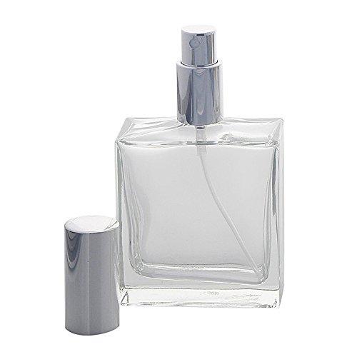 Kosmetex leerer, eckiger Glas-Flakon, 100 ml mit silber. Parfüm-Zerstäuber, Silber