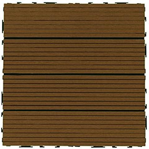 biwood® WPC–Teak di alta qualità 300x 300mm, cartone da 10pezzi = ca. 0,9m²; Sistema Click - Naturale Lawn Care