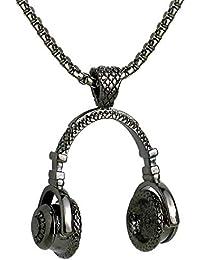 6166f9053584 GJJ Colgante de Auriculares de música para Hombres Collar de Moda Rock de  Moda