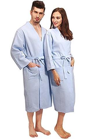 Vislivin His or Hers Waffle Pattern Kimono style Spa et peignoir Blue S