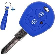 Soft Case Funda Protectora para la Llave del Coche + Cable Azul para VW Seat Skoda