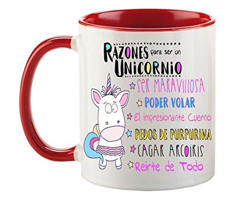 FUNNY CUP Taza Unicornio Color. Razones para ser un Unicornio. Divertidos Motivos para lucir Entre Amigas (Rojo)