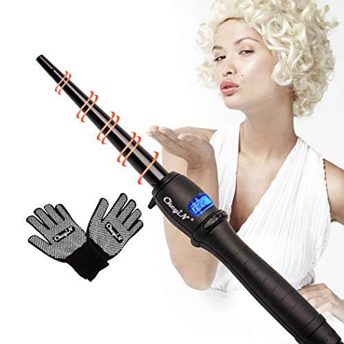 ramik Cone Haar Brennstab Rollers (9-19mm) 110-240V Dual Voltage Hair Styling Tool ()