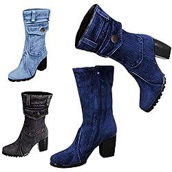 MrTom Botines Mujer Vaqueras Altas Plisado Invierno Otoño 2019 Botas de Nieve Rodilla Casual Fiesta Zapatos de Tacón Alto Ancho Hebilla Metálica Calzado de Trabajo Cuña Boots (40 CN, Tela Vaqueras-G)