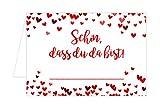 Edition Seidel Set 50 Tischkarten Platzkarten Namenskarten Hochzeit mit Herzen - Geburtstag - Taufe - Kommunion - Konfirmation - Feier - Schön, Dass Du da Bist
