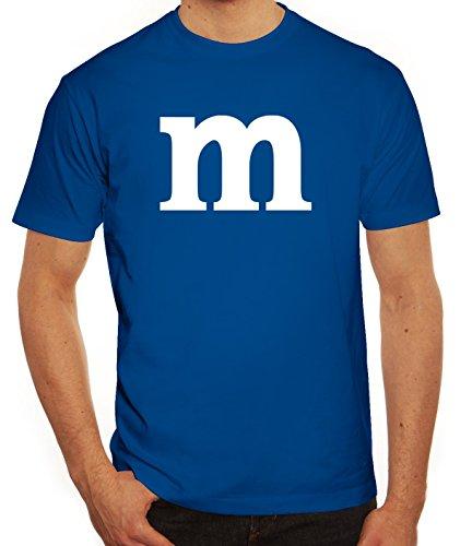 Karneval Fasching Junggesellenabschied Herren T-Shirt Gruppen & Paar Kostüm mit M Aufdruck, Größe: L,royal blau (M&m Kostüm Gruppe)