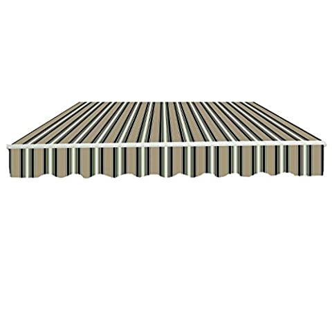 Greenbay 3x2.5m Garden Awning Replacement Fabric Top Cover Front Valance Multi-Stripe