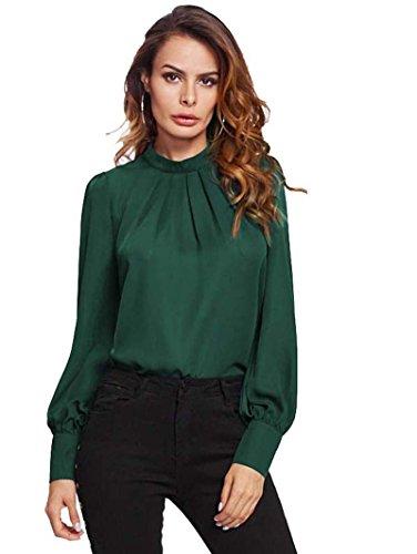 ROMWE Damen Elegant Chiffonbluse Stehkragen Langarm Tunika Bluse Grün XL