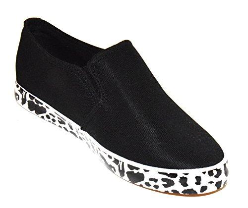 TMY 609–1Mocassini da donna/Slip ons scarpe basse, colore nero misura: 36–41 Nero