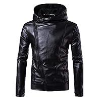 YIhujiuben Men's Basic Motorcycle Brando Style Biker Real Leather Hoodie Jacket Black L