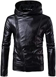 YIhujiuben Men's Basic Motorcycle Brando Style Biker Real Leather Hoodie Ja