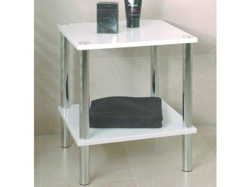 Haku-Möbel Kleinmöbelserie verchromt, Ablagen in hochglanz weiß