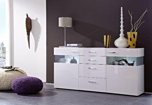 Stella Trading MNWW511020 Sideboard glänzend Nachbildung, Hochganz MDF, inclusive LED-Beleuchtung, circa 180 x 88 x 43 cm, weiß