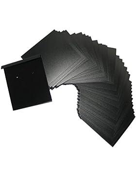 100 Stk. Ohrring Karten Hang Schwarz beflockt 2 x 2,2 Zoll