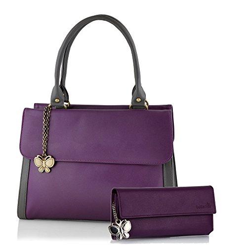 Butterflies Women\'s Handbag (Purple) (BNS WB0104)