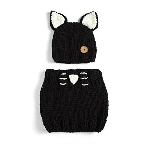 Tinksky Lindo oído animal gato sombrero de oído y conjunto de bufanda Beanies de invierno hecho punto regalo de Navidad para bebés niños pequeños (negro)