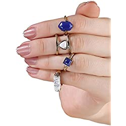 FemNmas Stylish Blue Gemstone Fashion Four Mid Finger Ring Set For Women & Girls