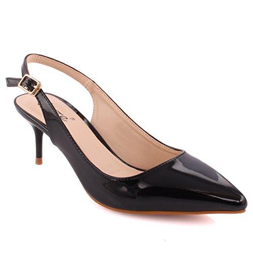 15ecd4c10ed Unze Ladies Women In-Focus Glossy Pointy Toe Sling-back Low Mid Heel Evening