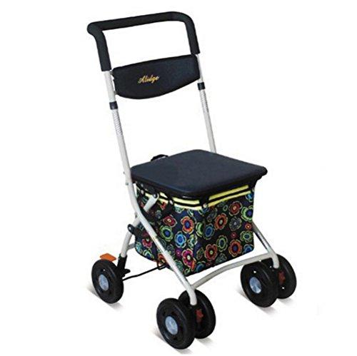 Andador de hierro Walker plegable carrito 6ruedas–Andador (con asiento y cesta