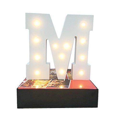 Lampe Dekoratives Licht Bis Buchstaben,KINGCOO Batteriebetrieben Holz LED Alphabet Buchstabe Schilder Lichter, Party Hochzeit Dekorationen,Warm weiß (M) -