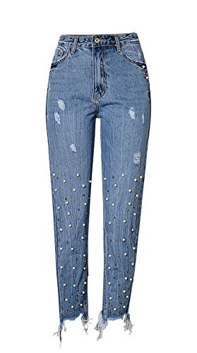 iRachel Damen High Waisted Pearl Detail Jeanshose Skinny Hose Hohe Taille Tassel Jeans (Denim Detail Pant)