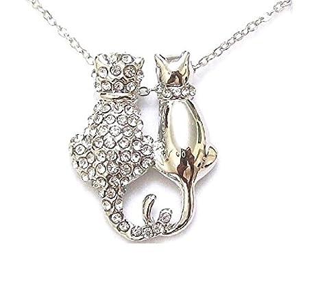 Silberfarben/Kristall Diamane Sitzung Twin Cats Fancy Dress Party Animal Retro Halskette Schmuck für